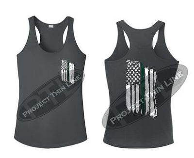 Charcoal Tattered Thin GREEN Line American Flag Racerback Tank Top