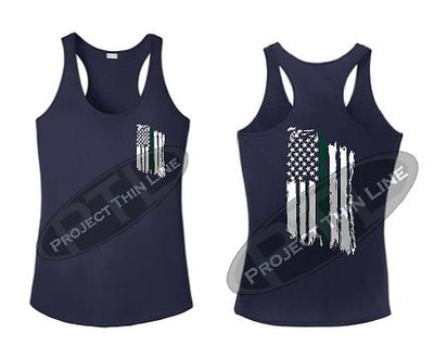 Navy Blue Tattered Thin GREEN Line American Flag Racerback Tank Top