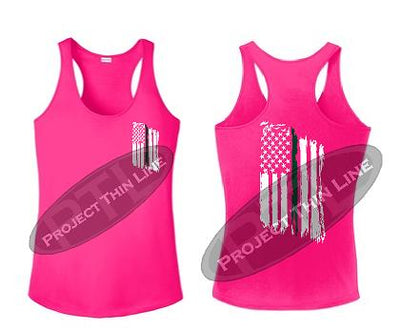 Pink Tattered Thin GREEN Line American Flag Racerback Tank Top