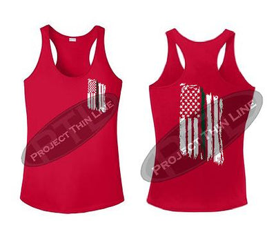Red Tattered Thin GREEN Line American Flag Racerback Tank Top