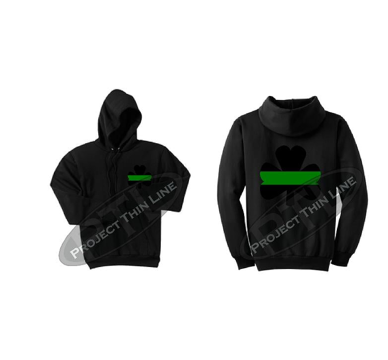 Thin GREEN Line Shamrock Clover Hooded Sweatshirt