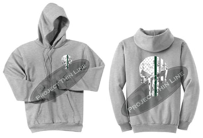 Ash Grey Hooded Sweatshirt Thin GREEN Line Punisher Skull inlayed with the Tattered American Flag