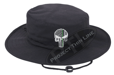Black Boonie Hat with embroidered Subdued Thin GREEN Line Punisher