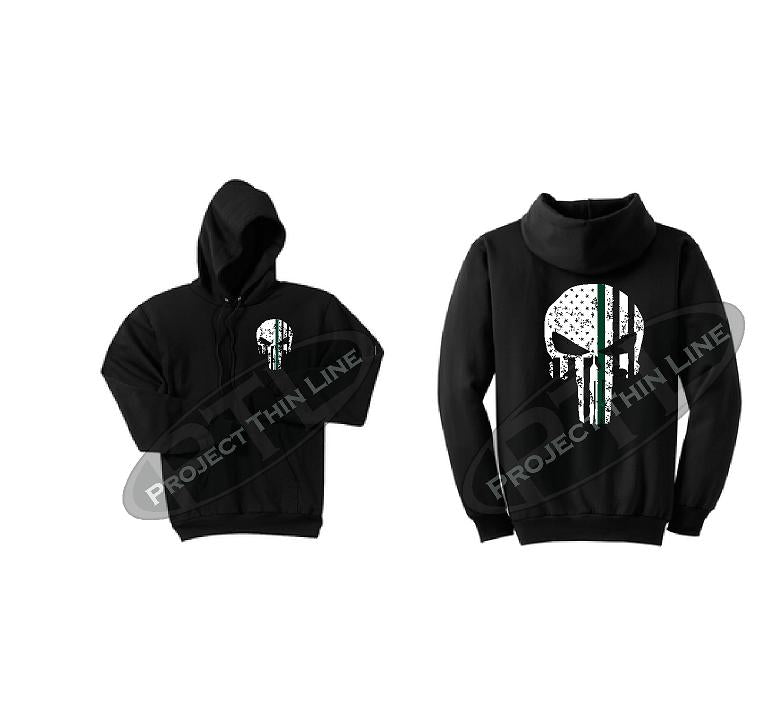 Men's Thin GREEN Line Punisher Skull inlayed with the Tattered American Flag Hooded Sweatshirt