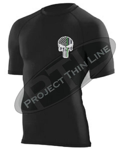 Black Embroidered Thin GREEN Line Punisher Skull inlayed American Flag Short Sleeve Compression Shirt