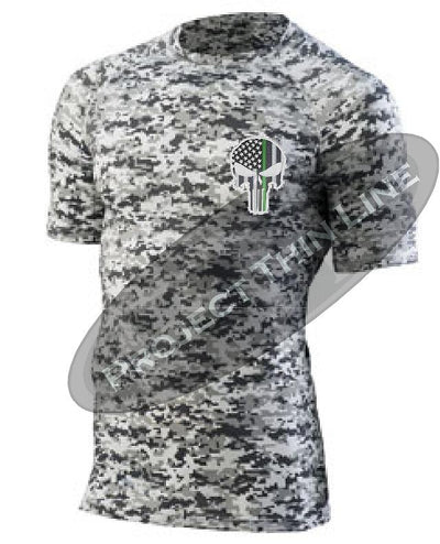 Digital Camo Embroidered Thin GREEN Line Punisher Skull inlayed American Flag Short Sleeve Compression Shirt