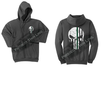 Charcoal Hooded Sweatshirt Thin GREEN Line Punisher Skull inlayed with the Tattered American Flag