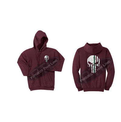 Maroon Hooded Sweatshirt Thin GREEN Line Punisher Skull inlayed with the Tattered American Flag