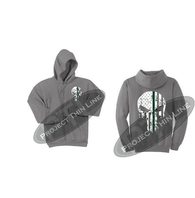 Medium Grey Hooded Sweatshirt Thin GREEN Line Punisher Skull inlayed with the Tattered American Flag