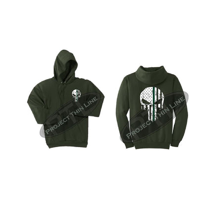 Olive GreenHooded Sweatshirt Thin GREEN Line Punisher Skull inlayed with the Tattered American Flag