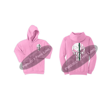 Pink Hooded Sweatshirt Thin GREEN Line Punisher Skull inlayed with the Tattered American Flag