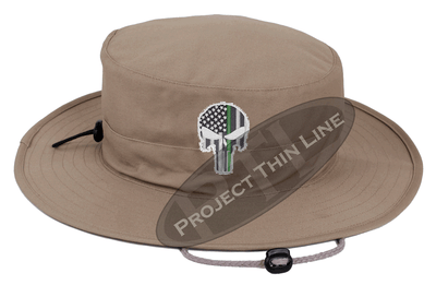 Khaki Boonie Hat with embroidered Subdued Thin GREEN Line Punisher