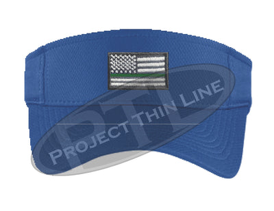 Blue Embroidered Thin Green Line American Flag Visor