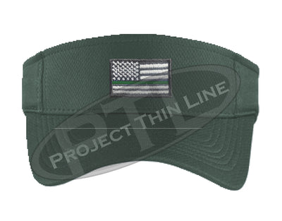 Dark Green Embroidered Thin Green Line American Flag Visor