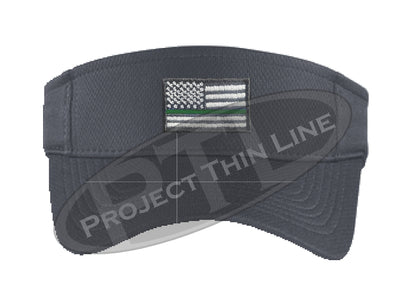 Grey Embroidered Thin Green Line American Flag Visor