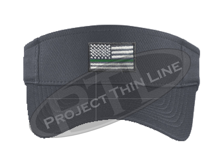 Black Embroidered Thin Green Line American Flag Visor