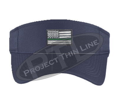 Navy Blue Embroidered Thin Green Line American Flag Visor
