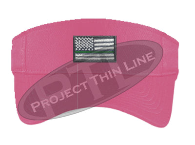 Pink Embroidered Thin Green Line American Flag Visor