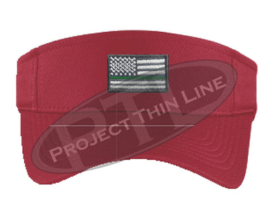 RED Embroidered Thin Green Line American Flag Visor