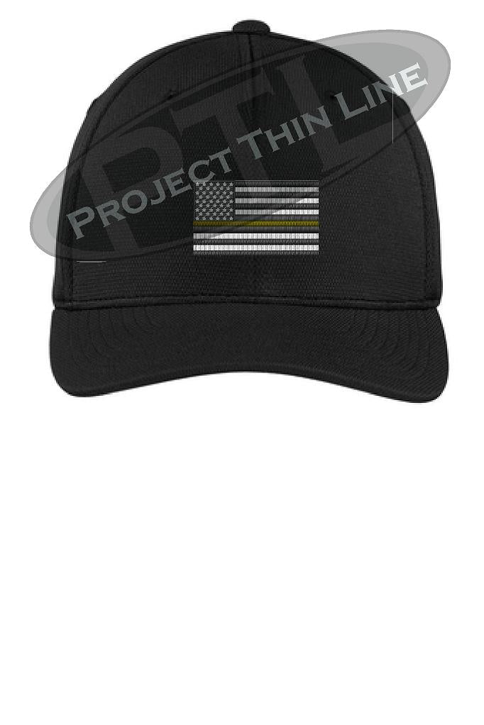 Black Embroidered Thin Yellow Line American Flag Flex Fit Fitted Hat