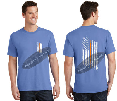 Carolina Blue Thin ORANGE Line Tattered American Flag Short Sleeve Shirt