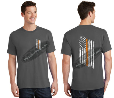 Charcoal Thin ORANGE Line Tattered American Flag Short Sleeve Shirt