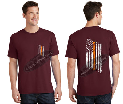 Maroon Thin ORANGE Line Tattered American Flag Short Sleeve Shirt