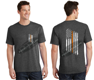 Dark Grey Thin ORANGE Line Tattered American Flag Short Sleeve Shirt