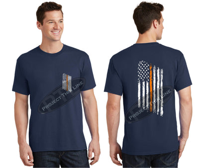 Navy Thin ORANGE Line Tattered American Flag Short Sleeve Shirt