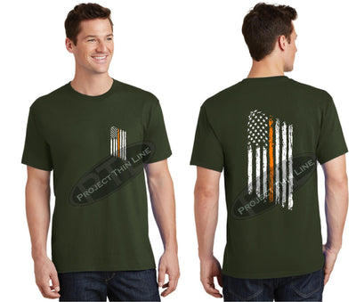 OD Green Thin ORANGE Line Tattered American Flag Short Sleeve Shirt