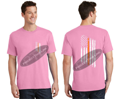 Pink Thin ORANGE Line Tattered American Flag Short Sleeve Shirt