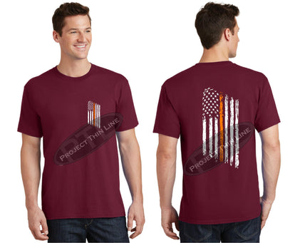 Red Thin ORANGE Line Tattered American Flag Short Sleeve Shirt