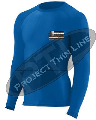 Royal Blue Long Sleeve Compression shirt Thin Orange Line Subdued American Flag