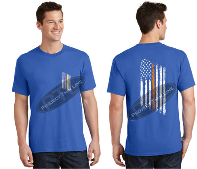 Royal Blue Thin ORANGE Line Tattered American Flag Short Sleeve Shirt