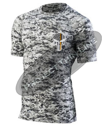 Digital Camo Embroidered Thin ORANGE Line Punisher Skull inlayed American Flag Short Sleeve Compression Shirt