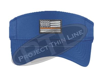 Blue Embroidered Thin Orange Line American Flag Visor