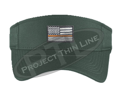 Dark Green Embroidered Thin Orange Line American Flag Visor