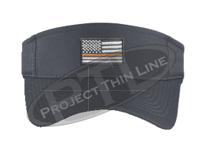 Grey Embroidered Thin Orange Line American Flag Visor