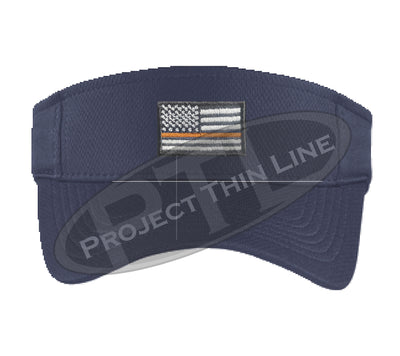 Navy Embroidered Thin Orange Line American Flag Visor