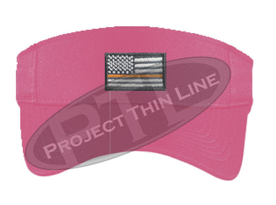 Pink Embroidered Thin Orange Line American Flag Visor