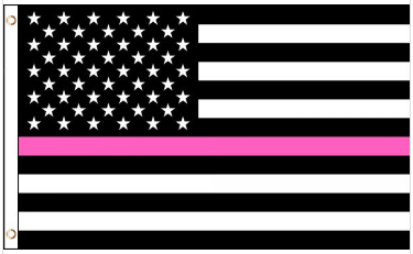 3' x 5' Poly USA Thin PINK Line American Flag