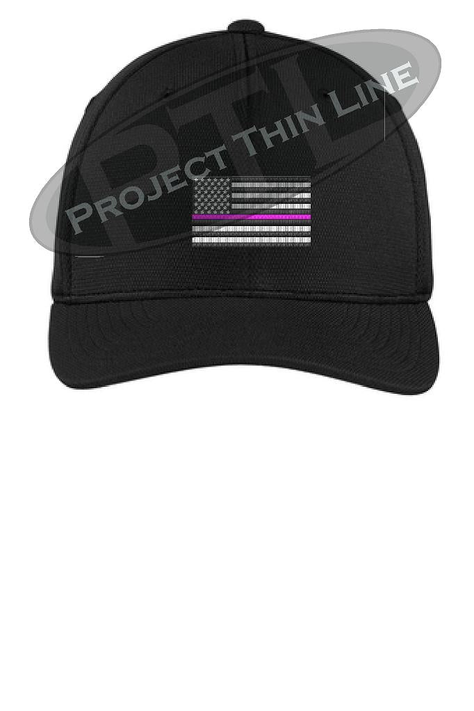 BLACK Embroidered Thin Pink Line American Flag Flex Fit Fitted Hat