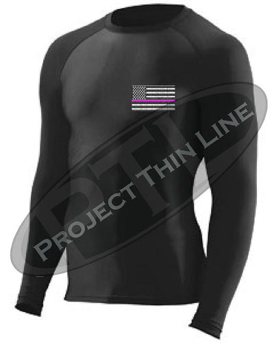 Black Embroidered Thin PINK Line American Flag Long Sleeve Compression Shirt