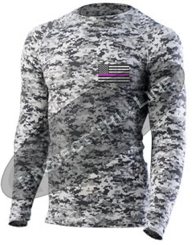 Digital Camo Embroidered Thin PINK Line American Flag Long Sleeve Compression Shirt