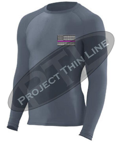 Charcoal Embroidered Thin PINK Line American Flag Long Sleeve Compression Shirt