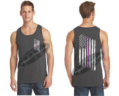 Charcoal Thin Pink Line Tattered American Flag Tank Top