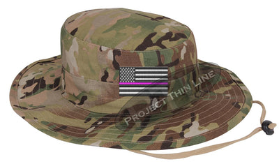 Embroidered Thin PINK Line American Flag Boonie Adjustable Hat