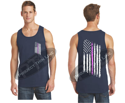Navy Thin Pink Line Tattered American Flag Tank Top