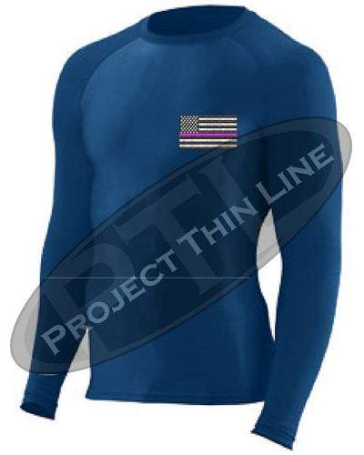 Navy Embroidered Thin PINK Line American Flag Long Sleeve Compression Shirt