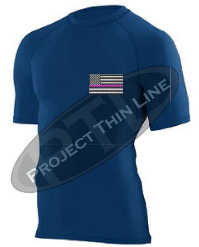 Navy Embroidered Thin PINK Line American Flag Short Sleeve Compression Shirt